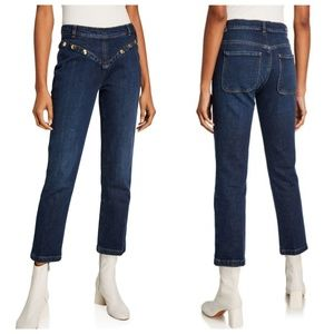 NWT Frame Le High Straight Stud Embellished Jeans
